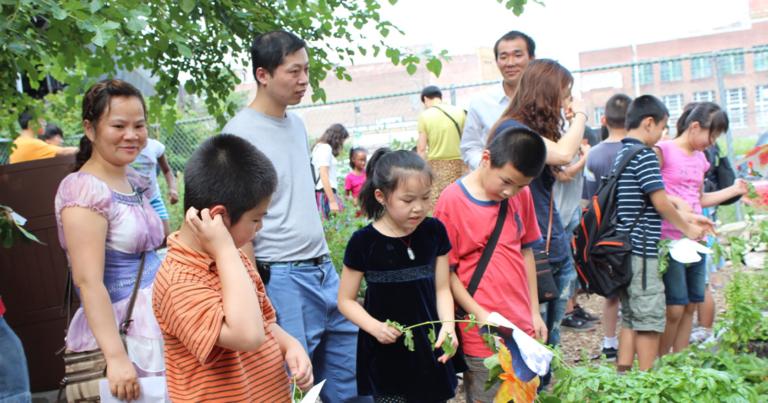 AAU_InchbyInchGarden_Summer School youth show their parents what grew)p