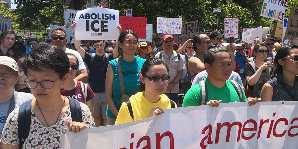 2 AAU at Immigrant Rights Rally